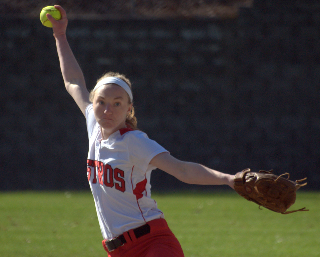 Pinkerton's Samantha Hennequin delivers a pitch during Monday's game. For more photos, go to the Photo Album.