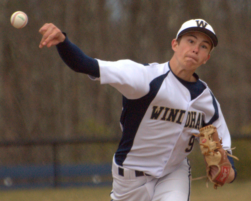 Windham's Adam Dolan delivers a pitch during Thursday's game against Milford. For more photos, go to the Photo Album.