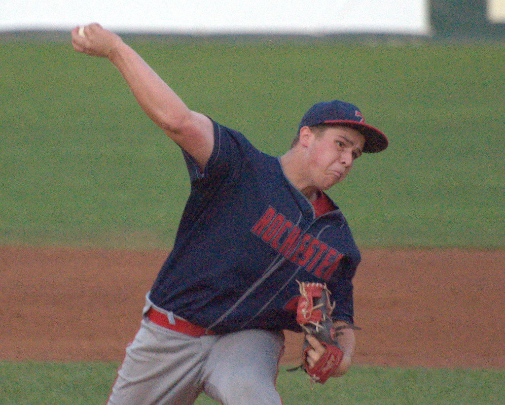 Rochester's Josh Gagne delivers a pitch during Thursday's game against Bedford.