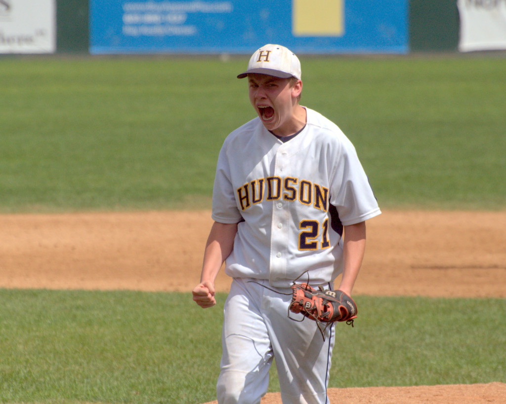 Hudson's Ryan Glendye celebrates after recording a strikeout to end Thursday's game against Sweeney.