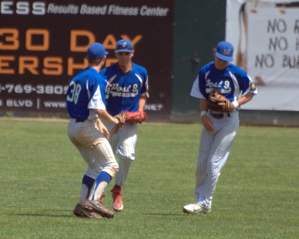 From left, Derry's Riley Cahill, Chace Spears and Pat Mahoney celebrate after Saturday's win over Rochester.