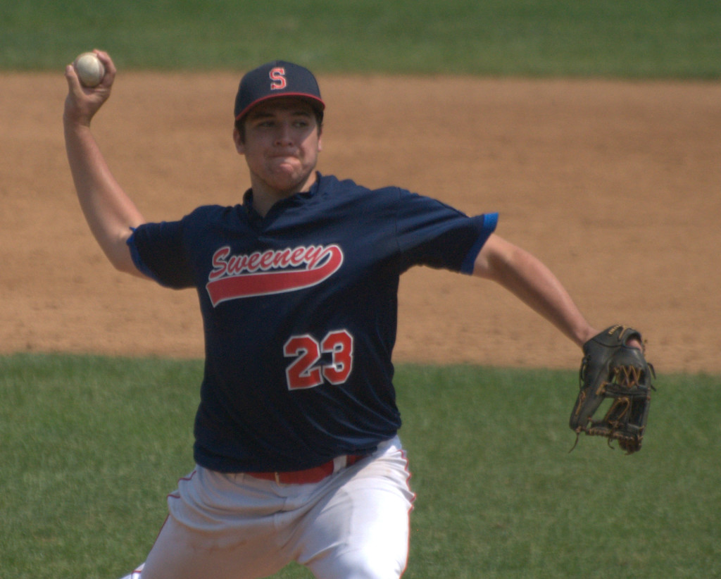 Sweeney's Connor Walsh delivers a pitch during Friday's game against Bedford.