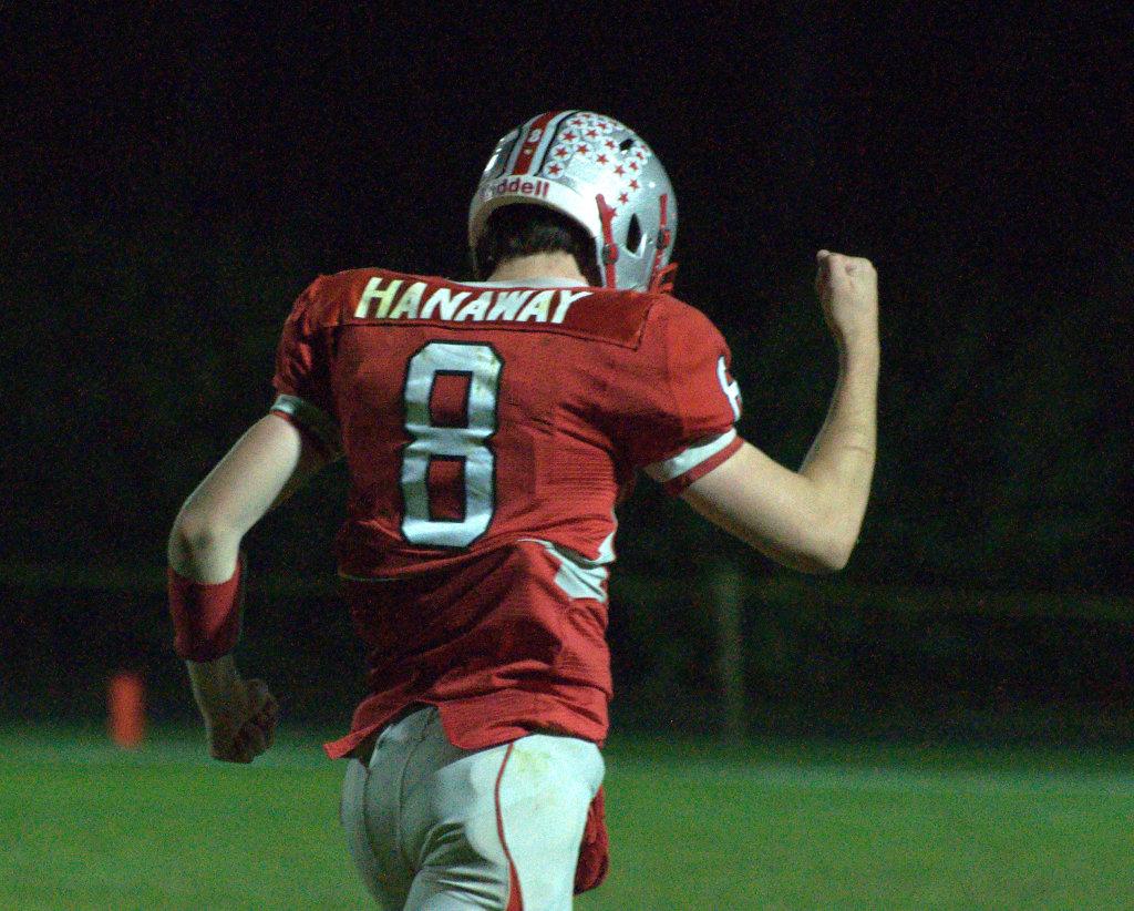 Pinkerton's Jack Hanaway pumps his fist after Saturday's win over Salem.