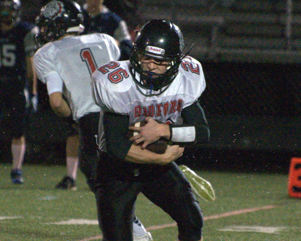 Bedford's Colin Cashin runs with the ball during Saturday's game against Exeter.