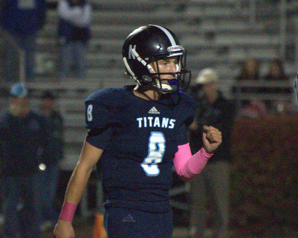 Nashua North's Colby Gunter pumps his fist in celebration after a touchdown Thursday against Merrimack.