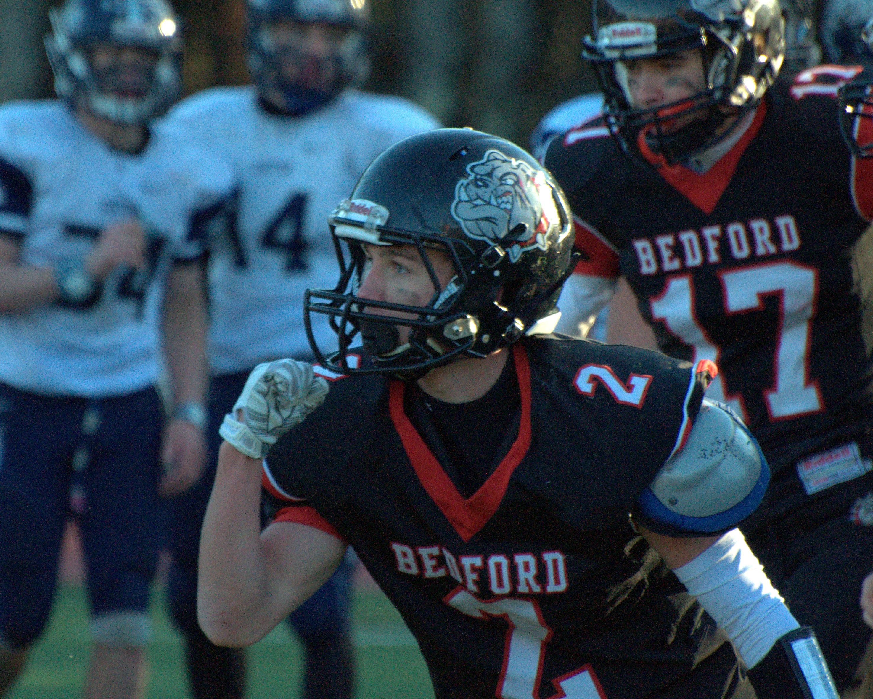Bedford's Taylor Larson pumps his fist after catching the game-winning touchdown Saturday.