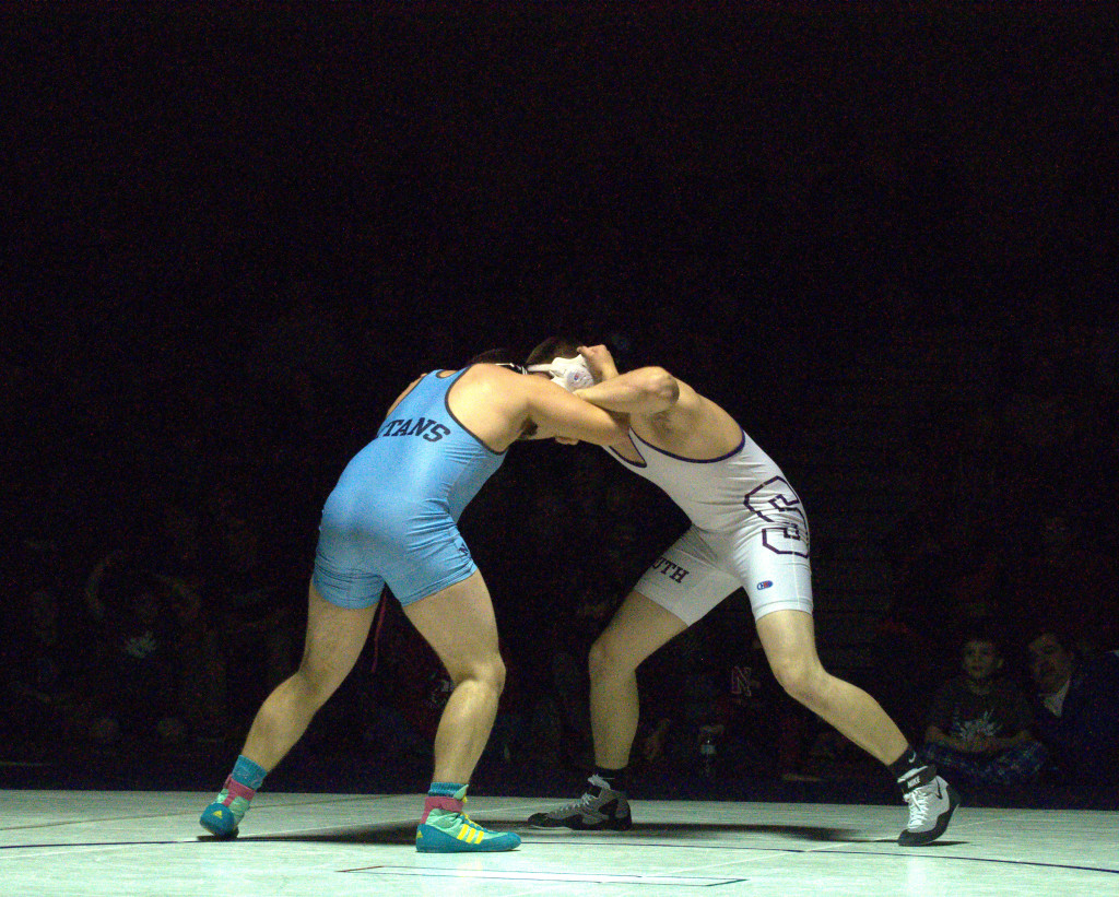 Wrestlers from Nashua North and Nashua South compete during last Wednesday's dual meet.