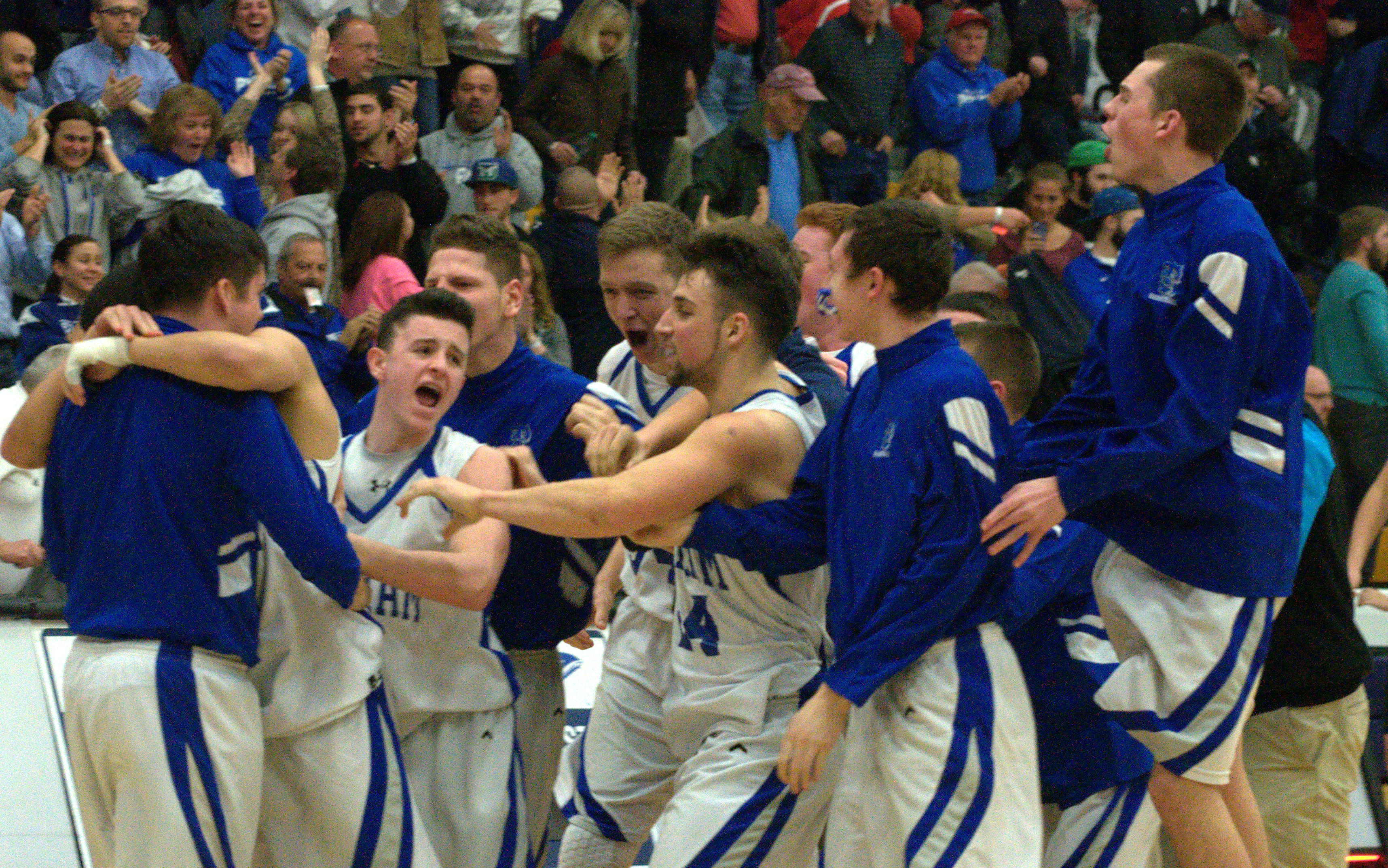 Pelham players celebrate their win Wednesday night over Campbell in the Division III semifinals.